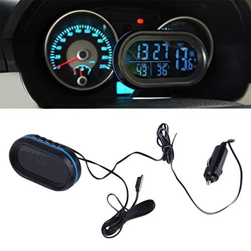 MachinYesity 2 in 1 12 V / 24 V Digital Auto Car Termometro + Batteria Auto Voltmetro Voltage Meter Tester Monitor + Orologio elettronico Vendita Calda (Colore: Nero)