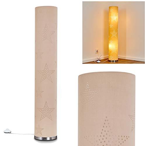 Stehlampe Tartu, moderne Stehleuchte aus Textil in Natur/Chrom, mit Sternenmuster, Ø 19, 2 x E14-Fassung, max. 30 Watt, mit Fußschalter am Kabel, auch geeignet für LED Leuchtmittel - Chrom Natur
