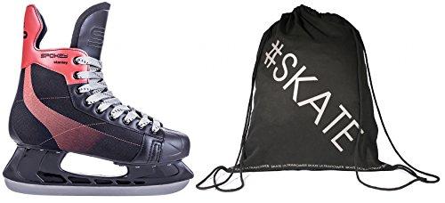 SET - SPOKEY STANLEY Eishockeyschlittschuhe + ULTRAPOWER Beutelrucksack | Schlittschuhe | 39-46 | Edelstahlkufen | Ergomisch | Verstärkte Kappe, Größe/Size:44