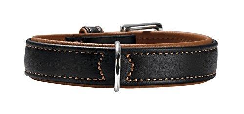 HUNTER CANADIAN Halsband für Hunde, Leder, 60, schwarz/cognac (46 - 52 cm)