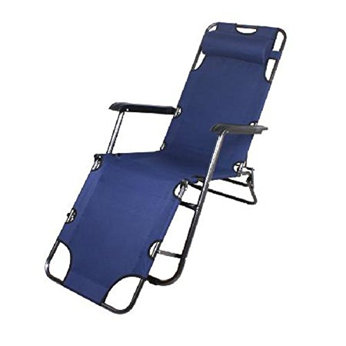 L&J Portable Lounge Chair, Verstellbaren Sessel mit Kopfstütze, Stabil Folding Gartenstuhl, Office...