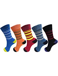 RC. ROYAL CLASS Kids Calf Length Stripped Cotton Socks (Pack of 5 Pairs) (2-10 Years)