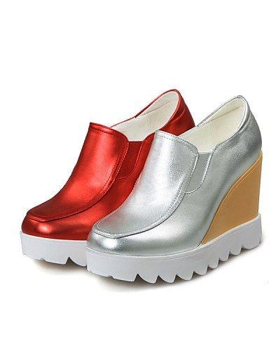 ShangYi gyht Scarpe Donna - Scarpe col tacco - Tempo libero / Casual - Zeppe / Punta squadrata - Zeppa - Finta pelle - Rosso / Argento Red