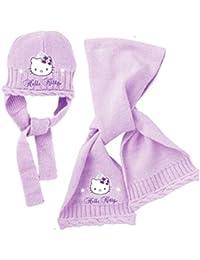 Bufanda y Gorro Bebé Niña Hello Kitty rosa y morado de 9a 36meses