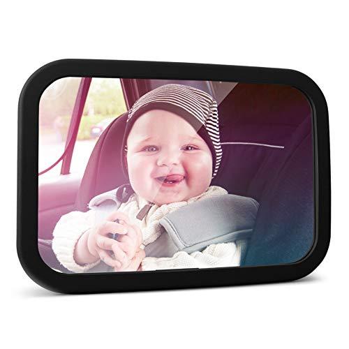 MYSBIKER Rücksitzspiegel, Spiegel Auto Baby, Shatterproof Car Rückspiegel kompatibel mit meisten Auto drehbar doppelriemen, 360° schwenkbar für Baby Kinderbeobachtung.