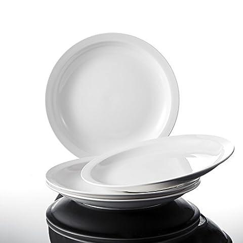 """Malacasa Série Regular, 4pcs Assiette Plate Assiettes à Dessert Gâteau Plat de Service en Céramique Porcelaine Service de Table Vaisselles 12""""/31*31*3.5cm"""