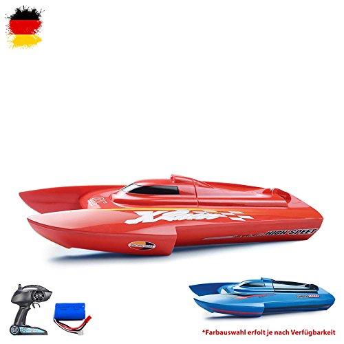 HSP Himoto RC ferngesteuertes Speedboot Katamaran Schiff-Modell mit Top-Speed Einsteiger Racingboat, Ready-to-Run, Top-Design, Komplett-Set mit Akku und Ladegerät