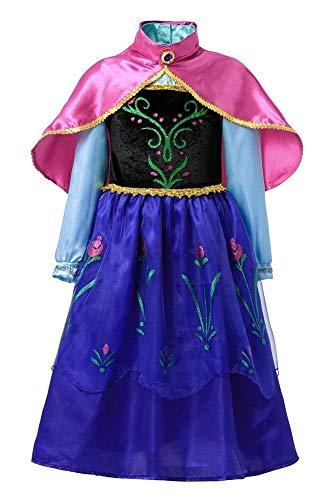 Vestito di Carnevale da Anna Colore blu Manica Lunga e Mantellina Fuxia Elegante Idea travestimento Bambina Taglia 130-5-6 anni