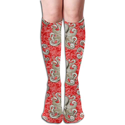 Haeckel's Octopus Tan+red Ink Comfortable Adult Knee High Sock Gym Outdoor Socks 50cm 19.7inch - Red Dress Ink