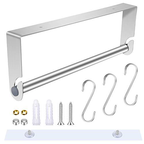 Hysagtek - Soporte para rollo de papel de cocina, dispensador de toallas, autoadhesivo y soporte de pared con 3 ganchos en forma de S para el hogar, la cocina, el baño