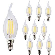 wulun 4W LED vela Filament bombilla, E14rosca Edison lámparas tipo vela, llama forma, blanco frío, 6500K 400lm, 40W equivalente incandescente de repuesto, pack de 10