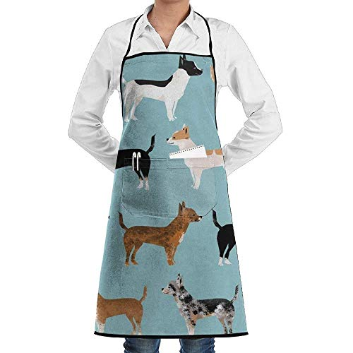 daawqee Chihuahua Coats Dog for Kitchen Cooking Chef BBQ Adjustable Personalized Women Men Chef -