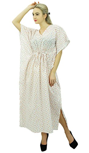 Phagun Femmes Coton Maxi Kaftan été Kimono Caftan Nuit Robe Blanc