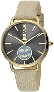 ساعة مع شعار للنساء من جاست كافالي مع مينا باللون الاسود وسوار جلدي وعرض انالوج - طراز JC1L117L0035