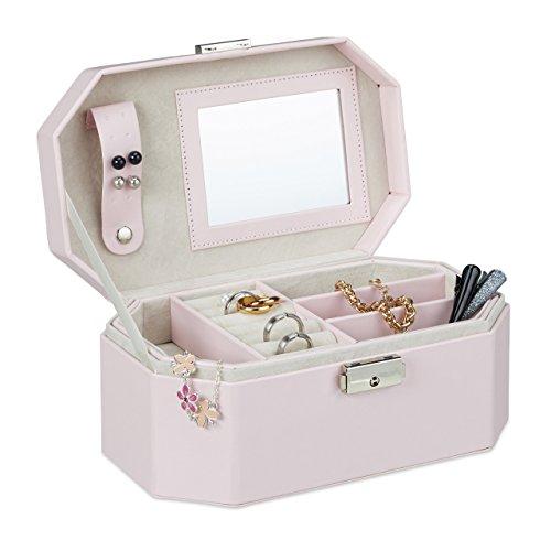 Relaxdays Schmuckkästchen für die Reise, Schmuckkasten mit Schloss, kompakte Schmuckbox für Ringe und Ketten, rosa
