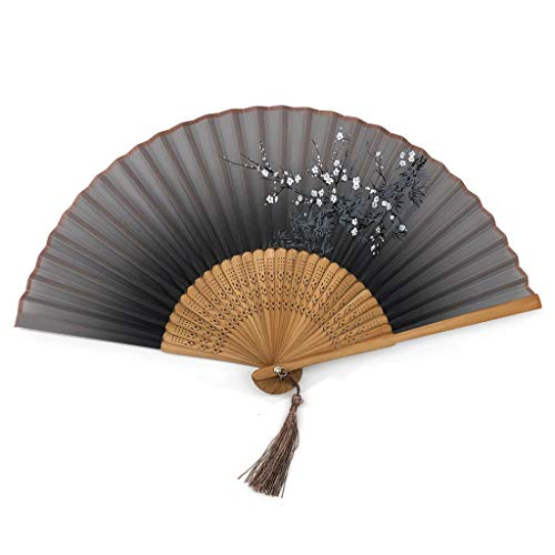 intage chinesische gesponnene Seidenblume Druck Hand Fan Folding Hohl Geschnitzte Hand Fan Event & Party Supplies Vintage Retro-Stil (Color : A) ()