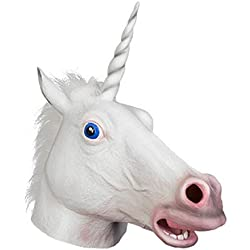 Máscara Color Blanco Unicornio De A Adultos Carnaval