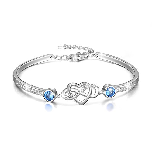 Infinity Armband Sterling Silber 925 Damen Liebe Unendlichkeitszeichen Armband mit Blau Kristallen von Swarovski, Schmuck Geschenk für Frauen Freundin
