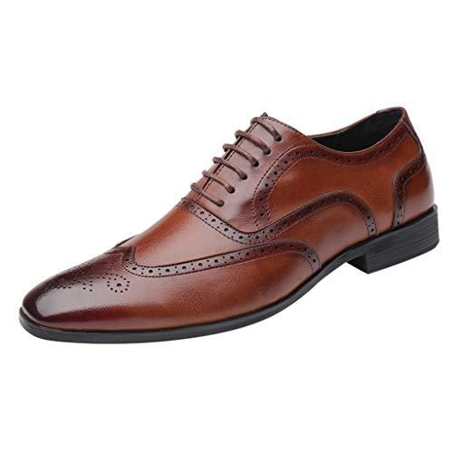 FNKDOR Schuhe Groß(38-48) Berufsschuhe Britischer Stil Herren Lederschuhe spitz Geschäft Schnürsenkel Freizeitschuhe Oxford Leder Hochzeitsschuhe Braun 44 EU -