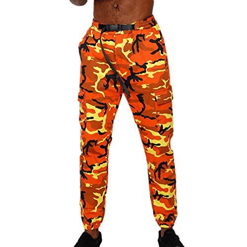 Fangcheng Pantaloni Jogging mimetici Uomo Pantaloni Cargo mimetici Pantaloni Militari Uomo Pantaloni Uomo Hip Hop Arancione L