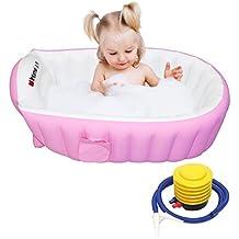 Signstek–Vaschetta per bagnetto, gonfiabile, per neonati e bambini Rosa
