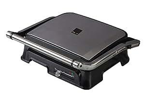 Dalkyo Panini Express Presse à panini électrique pour 4 portions Noir/argenté