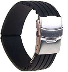 Silicone Rubber Watch Strap Deployment Buckle Waterproof Band