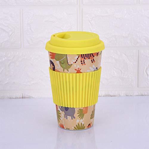 GWF Kreative Bambusfaser-Kaffeetasse mit Deckel Anti-Verbrühung Haushalt Isolation Cup mit...