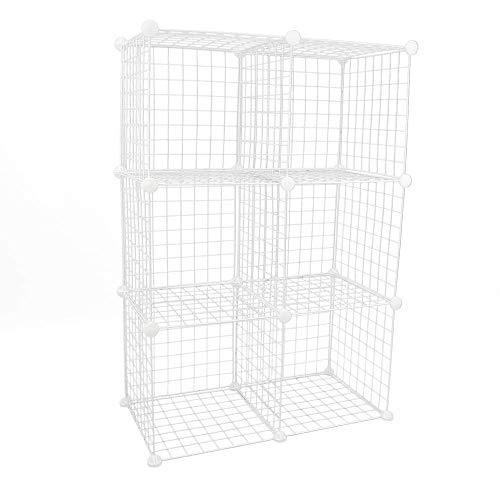 PrimeMatik - Armario Organizador Modular Estanterías de 6 Cubos de 35x35cm Metal Blanco