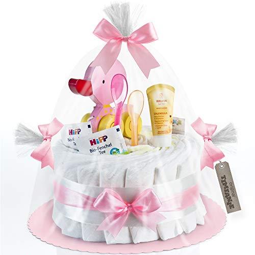 Timfanie® Windeltorte | Ziehente (1-stöckig/zart-rosa) | Windeln Gr. 2 (Baby 4-8 Kg)