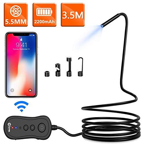 KZYEE WiFi Endoskop 5,5mm Durchmesser 2,0 Megapixel 1080P HD Drahtlose Inspektionskamera 2200mAh wasserdichte Halbfeste Snake Kamera für Smartphone Android IOS Samsung iPhone Tablet (3.5M)