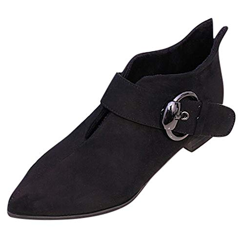UFACE Frauen Spitzschuh Schuhe Gürtelschnalle Stiefel Mode Stiefeletten