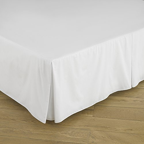 "Great Knot Basis-Faltenvolant Typ ""Easy Care"" aus Perkal Fadenzahl 180, 50 % Baumwolle / 50 % Polyester, weiß, Super King 183cm x 200cm + 39cm Drop"