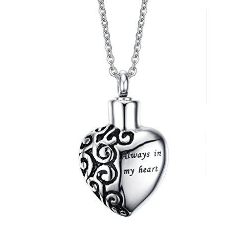 Medaillon Meinem Herz In Immer Für (Bishilin herzförmige Edelstahl Feuerbestattung Halskette