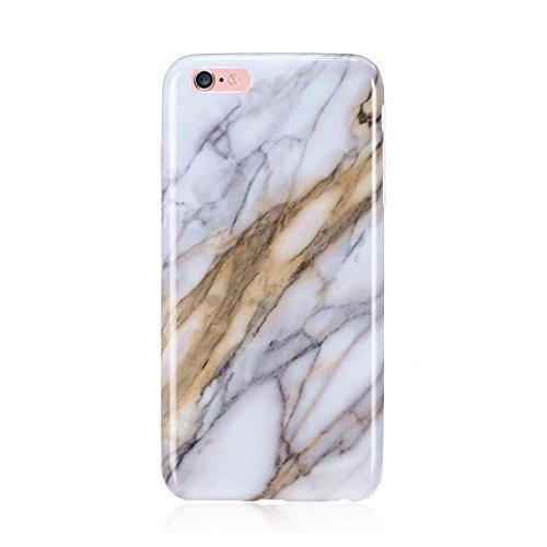 Cover iPhone 6/6S Plus marmo nero silicone Guscio morbido DECHYI TPU silicone e IMD disegno marmo Custodia serie -Nebulosa nera Pietra di quarzo rotto