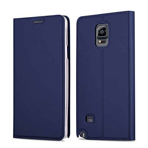 Samsung Galaxy NOTE 4 Hülle in DUNKEL-BLAU von Cadorabo - Handy-Hülle im Metallic Look mit unsichtbarem Magnet-verschluss und Karten-Fach Case Cover Schutz-hülle Etui Tasche Book Klapp Style (Samsung Note 4 Flip Case S-view)