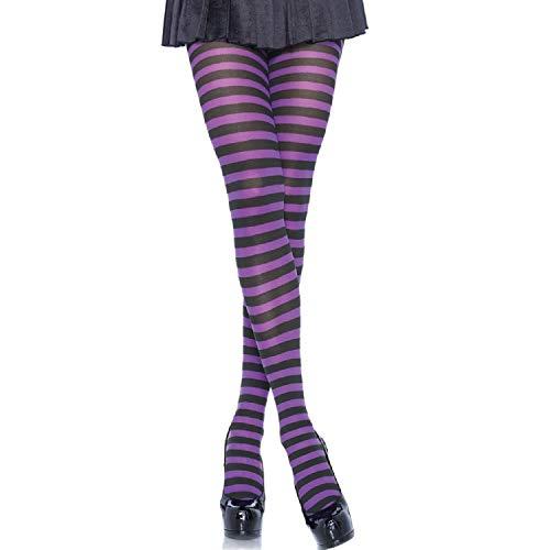 Leg Avenue 7100Q - Plus Größe Gestreiftes Strümpfhose Kostüm Damen Karneval, Größe 46, schwarz/lila