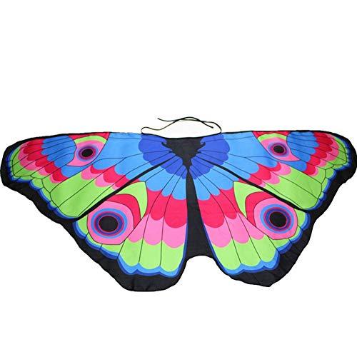MIRRAY Damen Karneval Kostüme Böhmische Schmetterling Print Schal Pashmina Kostüm Zubehör Mehrfarbig Rosa Schwarz Gelb Pink Blau Lila