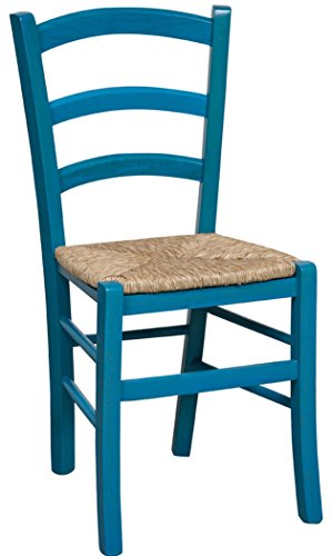 Biscottini Sedia in Legno massello di faggio Finitura Azzurro Laccato con Seduta in Paglia L45xPR45xH88 cm Made in Italy
