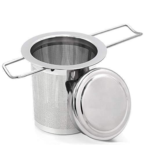 T.G.Y - Infusor de té de acero inoxidable con tapa y dos asas para hacer té, tazas, tazas y macetas de grano de hojas sueltas