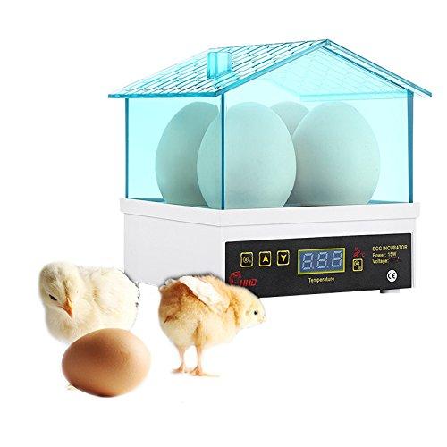 Petacc Automatische Eier Inkubator Umweltfreundliche Geflügel Hatcher Huhn Eier Inkubatoren, Geeignet für Huhn, Ente, Gans und Wachtel, 4 Löcher, Blau