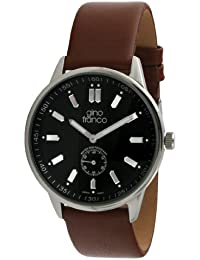 gino franco Men's 992TN Round Stainless Steel Genuine Leather Strap Watch