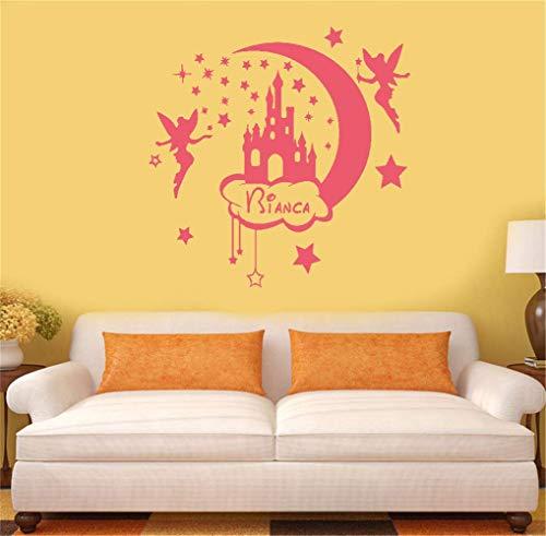Wandaufkleber Kinderzimmer wandaufkleber 3d personalisierter Name mit Feenstern Für Wohnzimmer Schlafzimmer Nurserry Kinderbett Zimmer Mädchen Schlafzimmer (Mädchen Wandsticker Für Disney)