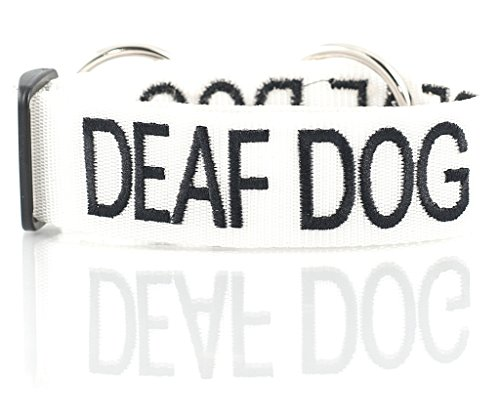 DEAF DOG (Dog Has Limited/No Hearing) White Colour Coded S-M L-XL Dog Collars PREVENTS Accidents By Warning Others Of Your Dog In Advance