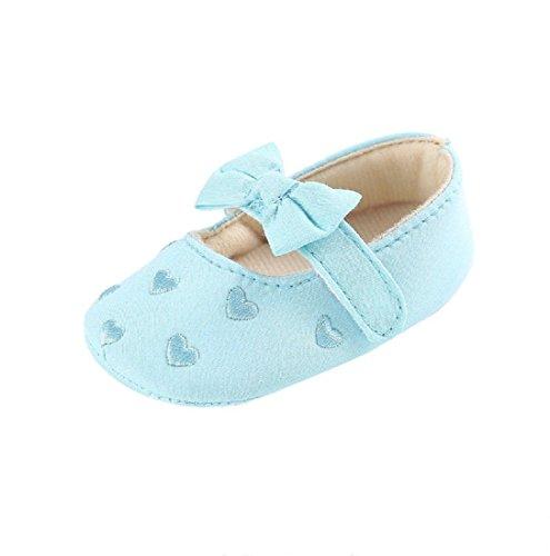 Sapatos De Bebê, Auxma Meninas Curva-nó De Sapatos De Lona Sapatilha Anti-derrapante Sapatos De Bebê Sola Macia (0-6 M, Branco) Azul Claro