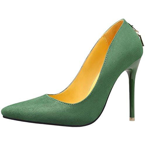 Oasap Women's Low Cut Pointed Toe Slip-on Stiletto Pumps green