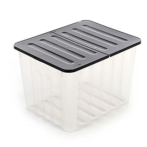 XXL Kunststoffbox in Transparenter Ausführung mit Klappdeckel in Anthrazit. Mit 110 Liter Füllvolumen. Maße BxTxH: 60 x 48 x 45 cm. Zweck Truhe Box
