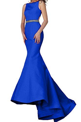 Charmant Damen Festlich Taft Hundkragen Meerjungfrau Abendkleider Abiballkleider Partykleider Bodenlang mit schleppe Royal Blau