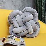 BAONZEN INS Cuscino Nordic Knot Palla Annodato Cuscino Cuscino del Divano Cuscino Decorativo in Tinta Unita, Sezione a Forma di Fiore - Grigio tenero