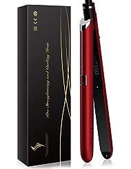 Fer à Lisser, METALBAY Lisseur Cheveux 2 en 1 Professionnel, 100-220℃ Température Réglable, 3D Plaque Céramique, Réchauffage Rapide, écran LCD, Rouge